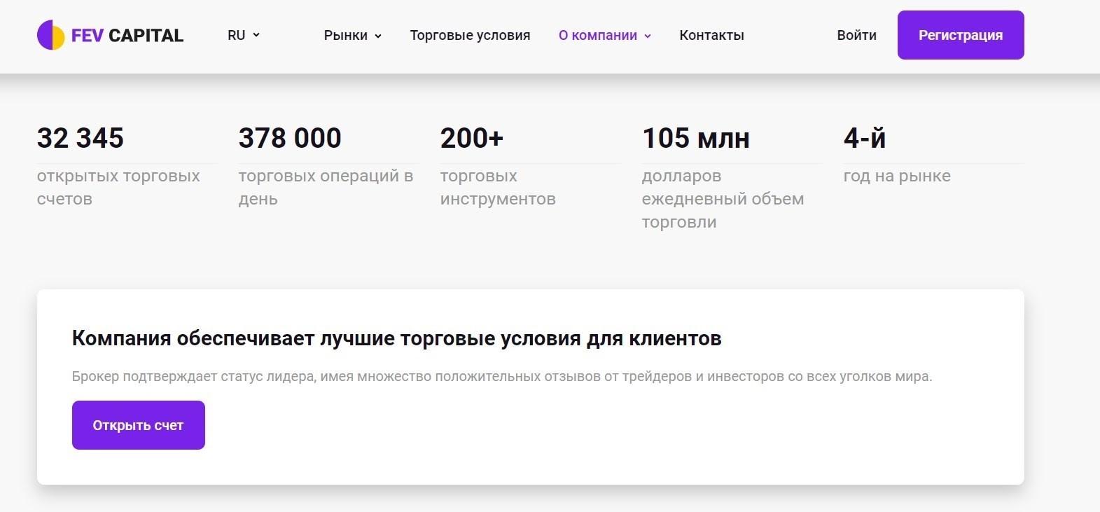 Сайт Fev Capital. Обзор и регистрация