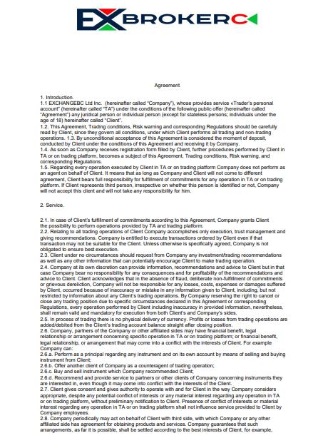 Анализ документации брокера EXCBC